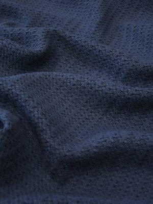 Твид стрейч хлопковый плетеный темно-синего оттенка (10269) - Фото 20
