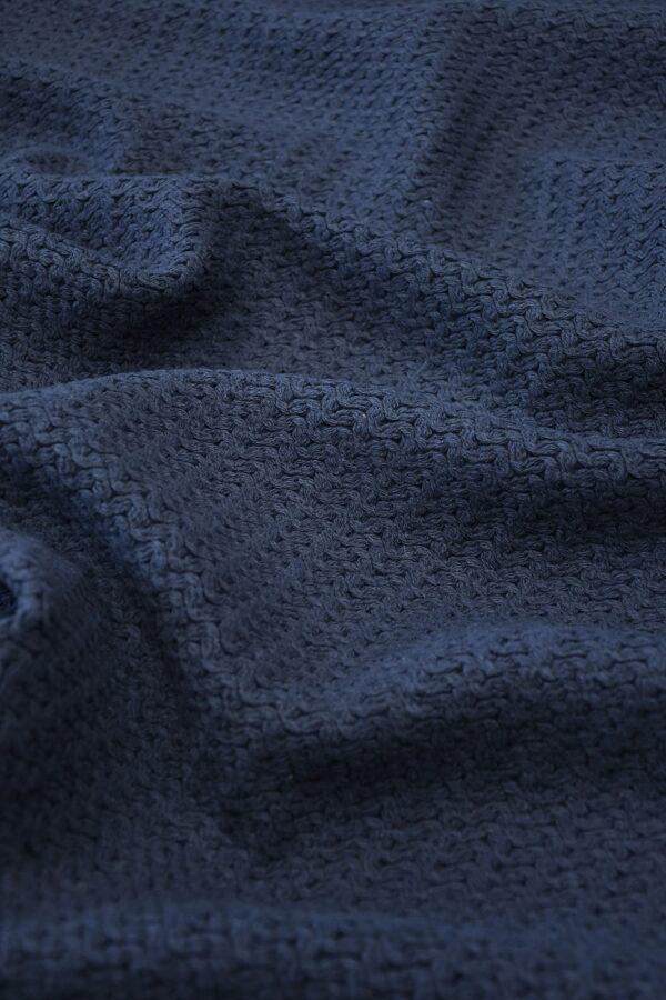 Твид стрейч хлопковый плетеный темно-синего оттенка (10269) - Фото 6