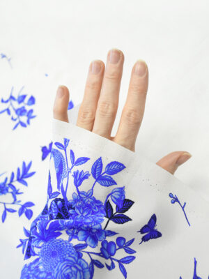 Шелк купон белый с синими цветами и птичками (10273) - Фото 29