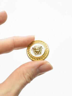Пуговица металл эмаль белая с золотой окантовкой (p1486) - Фото 14
