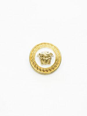 Пуговица металл эмаль белая с золотой окантовкой (p1486) - Фото 13