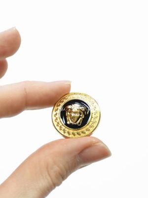 Пуговица металл эмаль черная с золотой окантовкой (p1485) - Фото 9