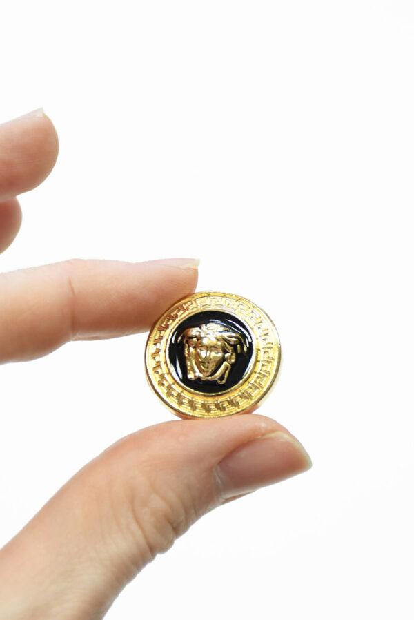 Пуговица металл эмаль черная с золотой окантовкой (p1485) - Фото 7