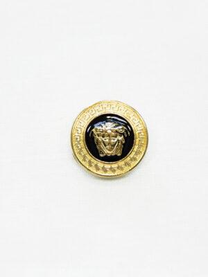 Пуговица металл эмаль черная с золотой окантовкой (p1485) - Фото 8