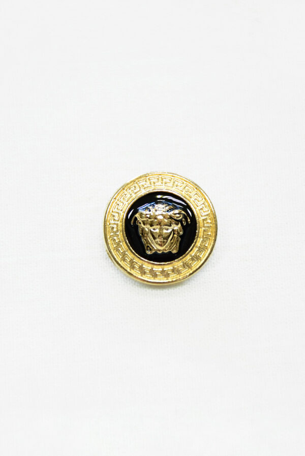 Пуговица металл эмаль черная с золотой окантовкой (p1485) - Фото 6