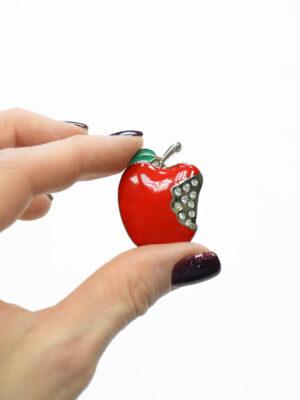 Пуговица металл эмаль яблоко с хрустальными стразами (t0375) к-20 - Фото 7