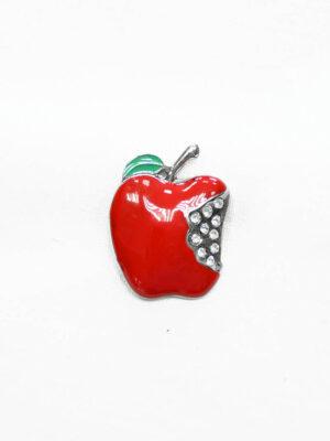 Пуговица металл эмаль яблоко с хрустальными стразами (t0375) к-20 - Фото 6