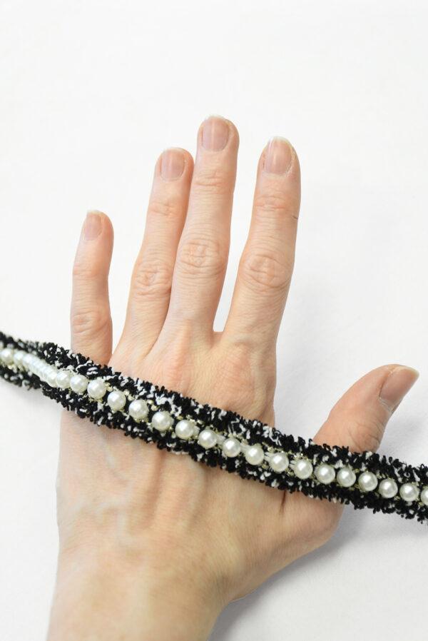 Тесьма в стиле Шанель черная с бусинами (t0843) т-19 - Фото 7