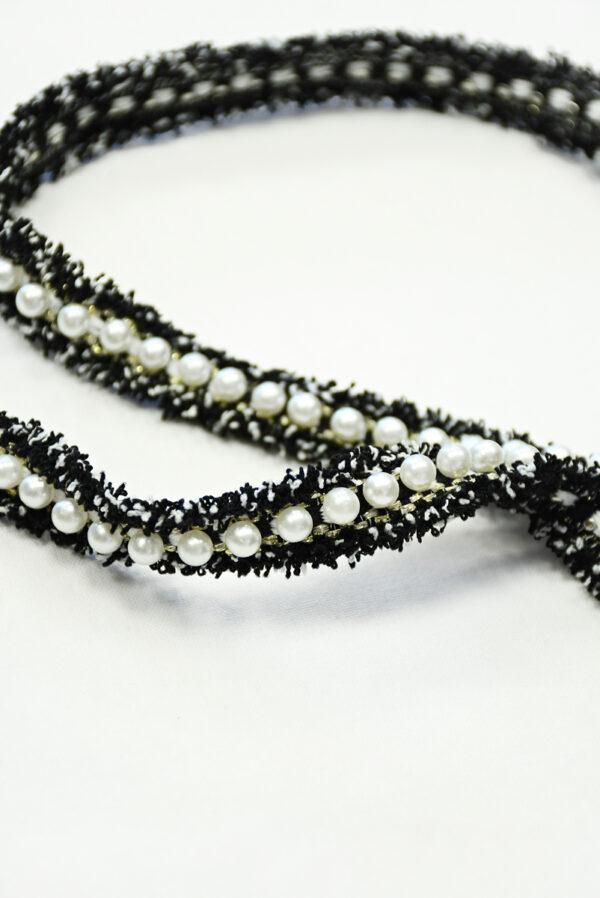 Тесьма в стиле Шанель черная с бусинами (t0843) т-19 - Фото 9