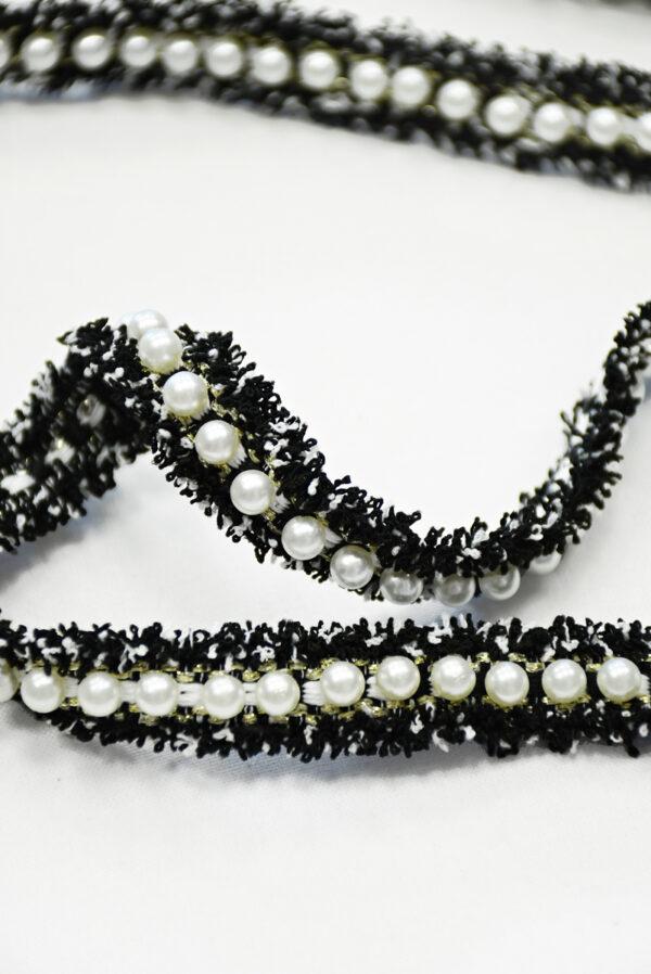 Тесьма в стиле Шанель черная с бусинами (t0843) т-19 - Фото 8