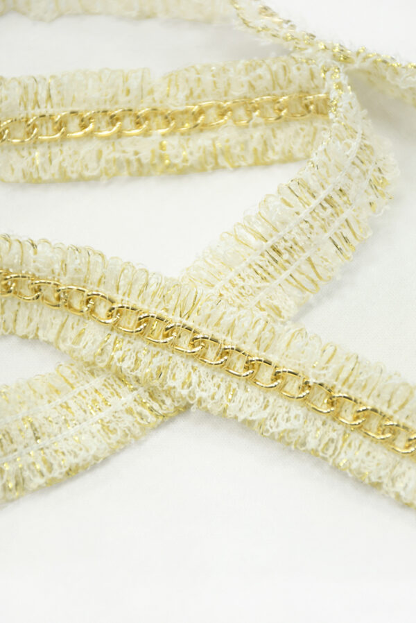 Тесьма молочная с золотым люрексом и цепочкой (t0844) т-19 - Фото 8