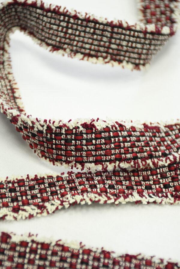Тесьма в стиле Шанель белая с красными и черными вкраплениями (t0845) т-19 - Фото 8