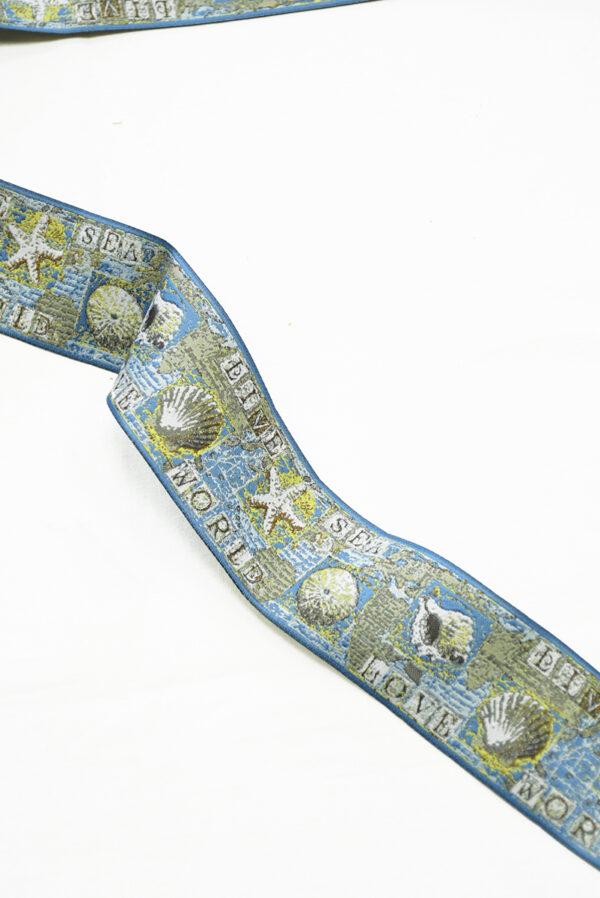 Лента жаккардовая голубаяс ракушками и надписями 3