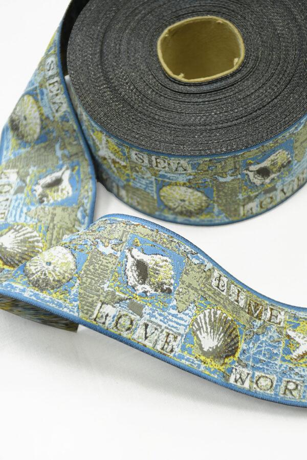 Лента жаккардовая голубаяс ракушками и надписями 1