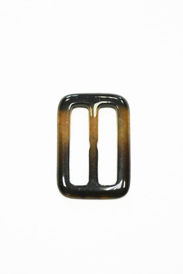 Пряжка пластиковая коричневая с бежевым прямоугольная