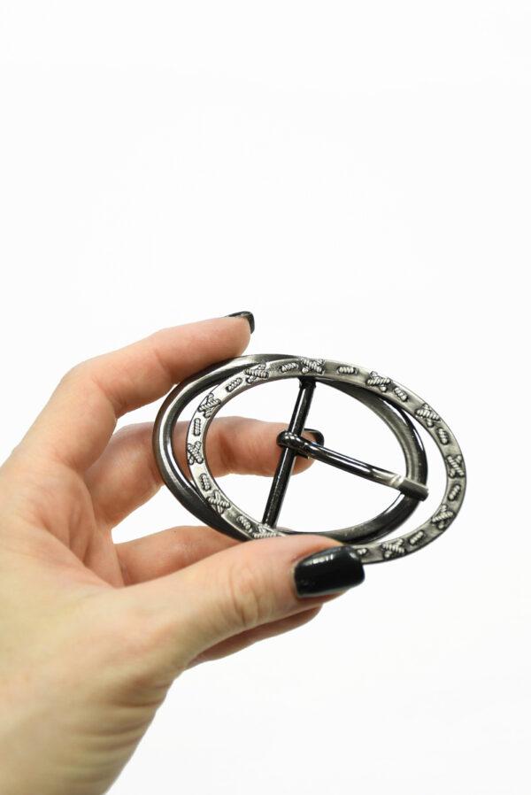 Пряжка овальная сдвоенная металл блэк никель 1