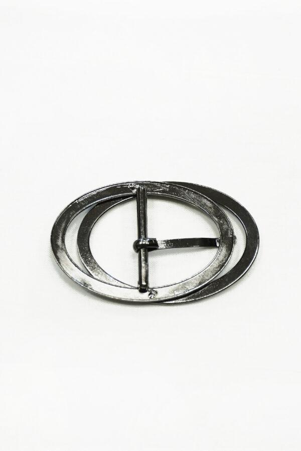Пряжка овальная сдвоенная металл блэк никель 2