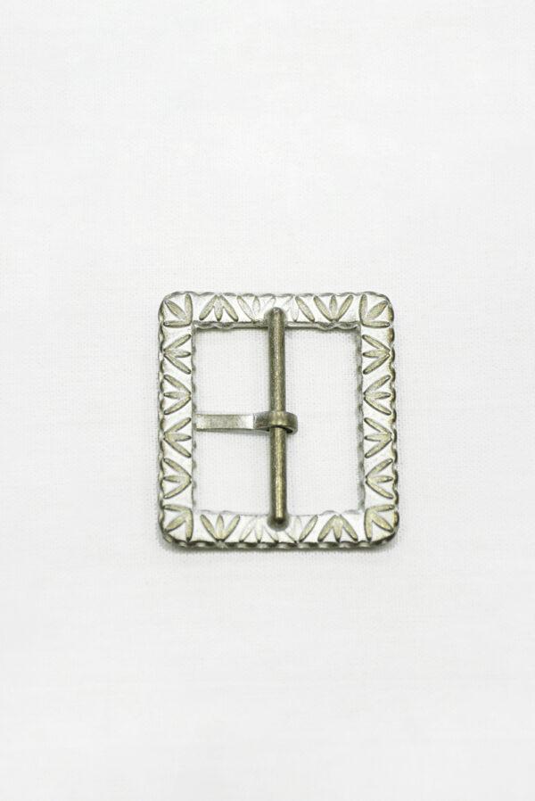 Пряжка прямоугольная металл латунь с белой эмалью 2