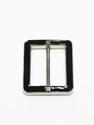 Пряжка металл серебро с черной эмалью