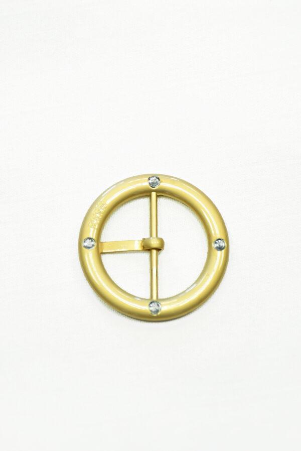 Пряжка круглая металл золото с коричневой эмалью 2