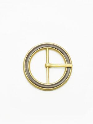 Пряжка круглая металл золото с коричневой эмалью