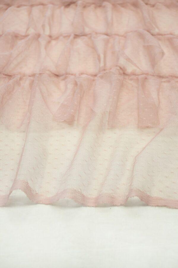 Сетка розовая с мушками и рюшами 3