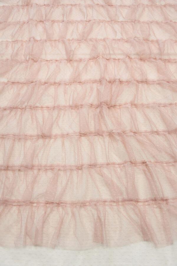 Сетка розовая с мушками и рюшами