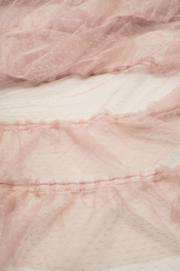 Сетка розовая с мушками и рюшами 2