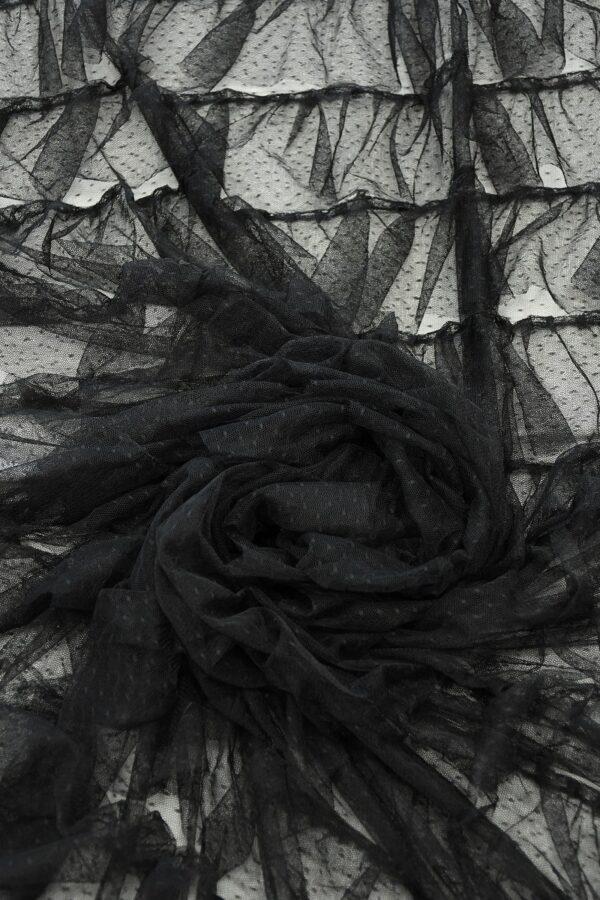 Сетка черная с мушками и рюшами 4