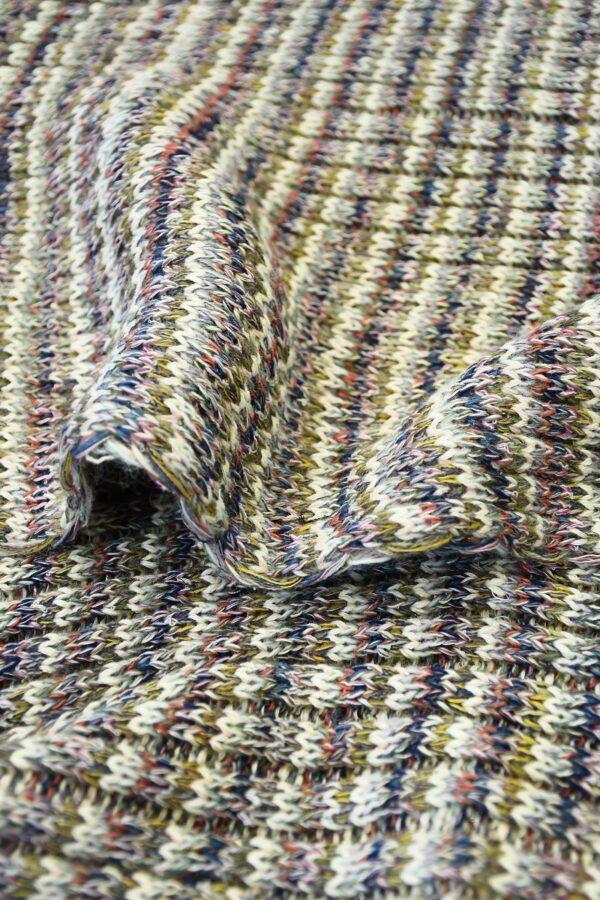 Трикотаж шерсть вязаный в разноцветную полоску (10302) - Фото 11