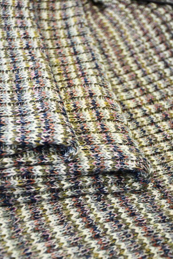 Трикотаж шерсть вязаный в разноцветную полоску (10302) - Фото 9