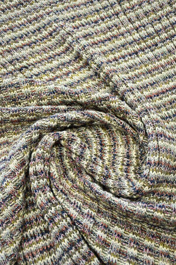 Трикотаж шерсть вязаный в разноцветную полоску (10302) - Фото 8