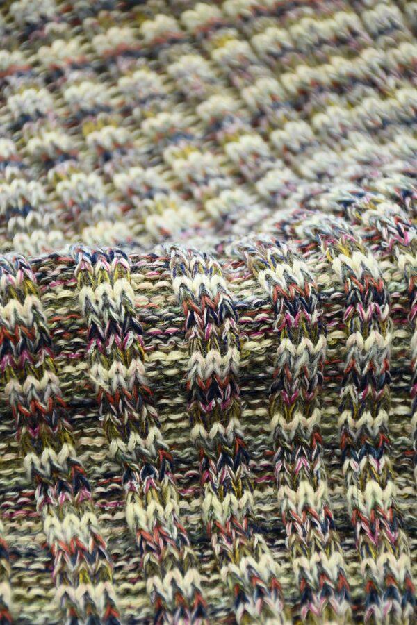 Трикотаж шерсть вязаный в разноцветную полоску (10302) - Фото 10