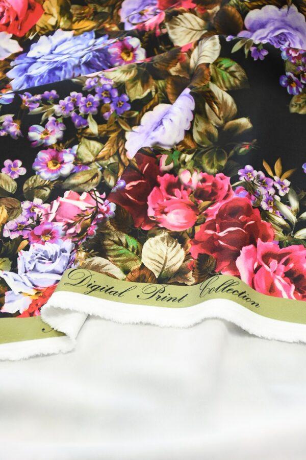 Кади черный с яркими розами и пионами (10303) - Фото 10