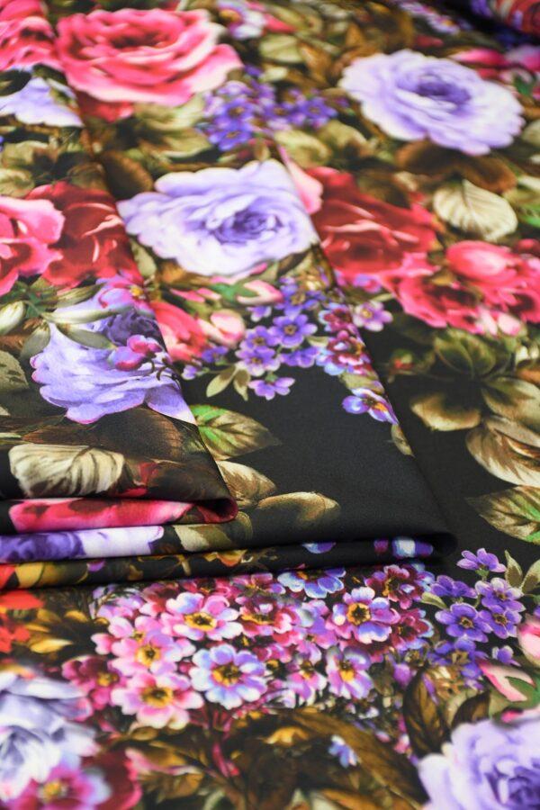 Кади черный с яркими розами и пионами (10303) - Фото 9