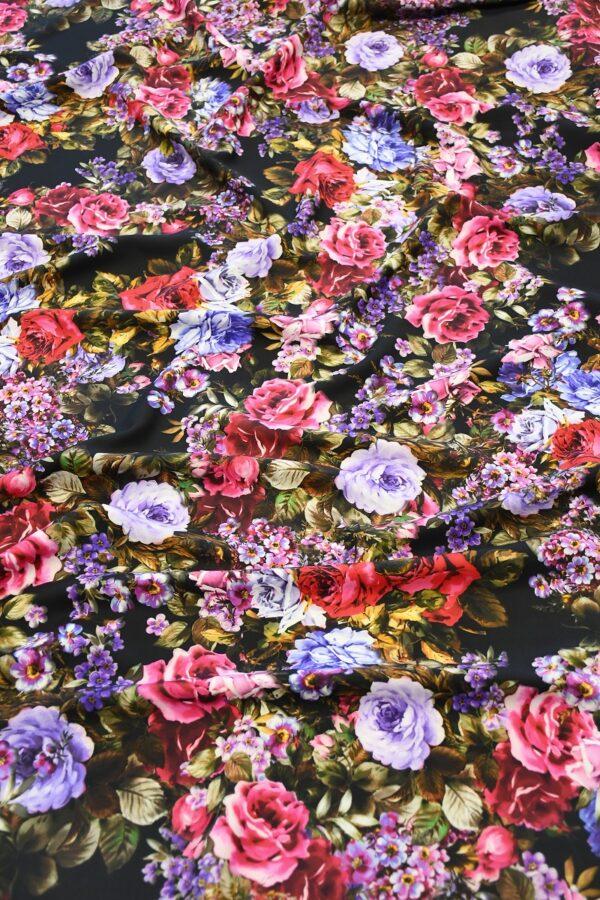 Кади черный с яркими розами и пионами (10303) - Фото 6