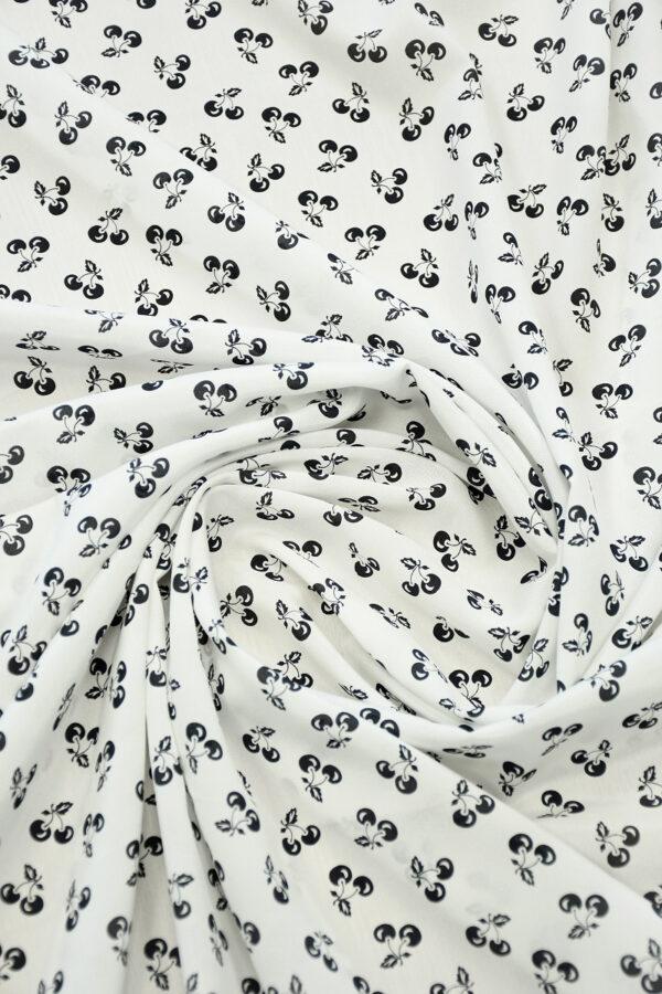 Шелк белый с мелкими черными вишнями (10305) - Фото 9