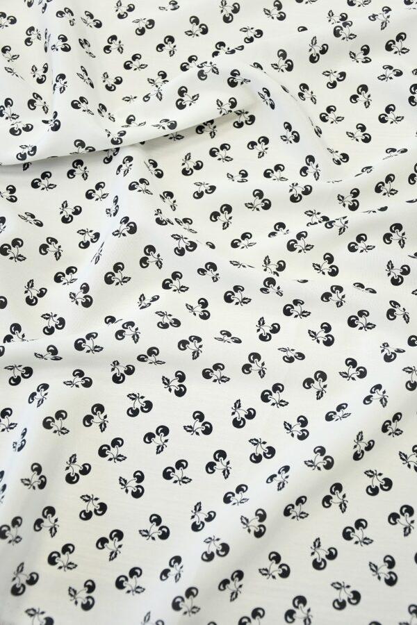 Шелк белый с мелкими черными вишнями (10305) - Фото 6