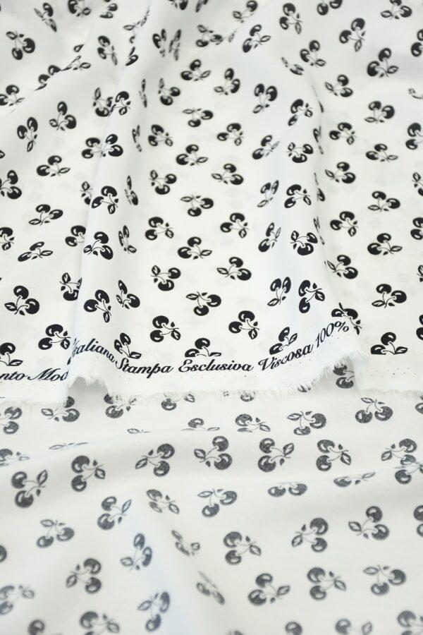 Штапель белый с мелкими черными вишнями (10306) - Фото 9