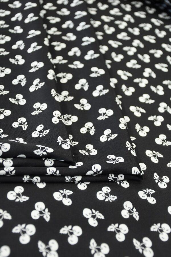 Шелк черный с мелкими белыми вишнями (10307) - Фото 11