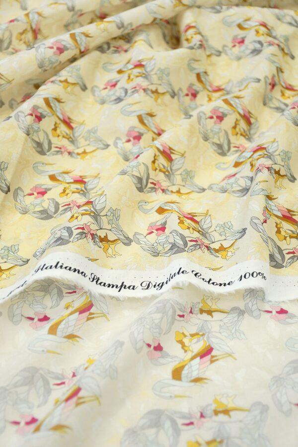 Хлопок бежевый с журавлями и цветами (10313) - Фото 9