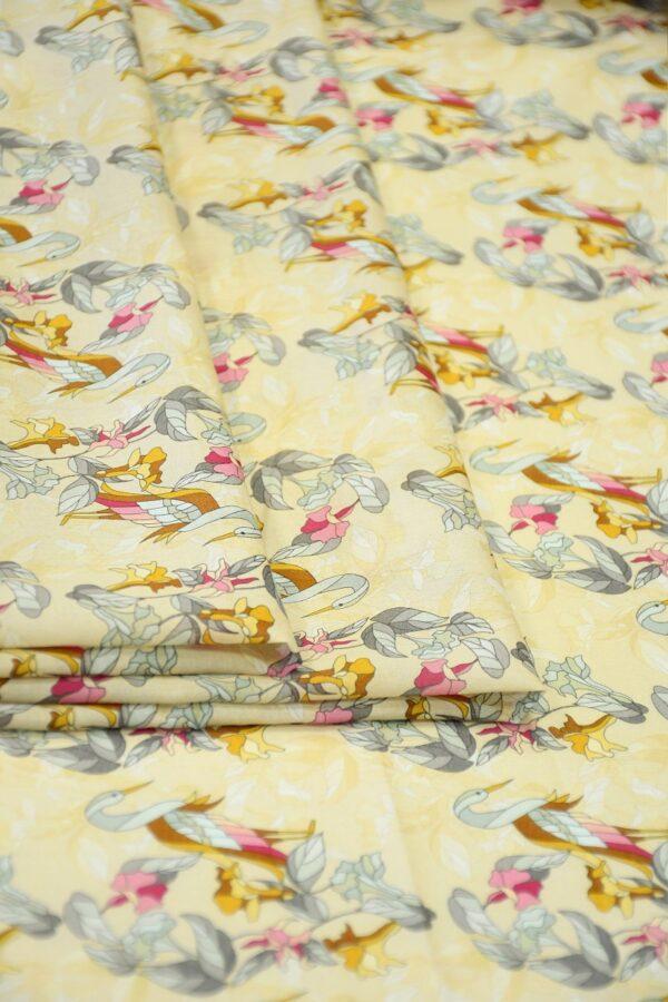 Хлопок бежевый с журавлями и цветами (10313) - Фото 10
