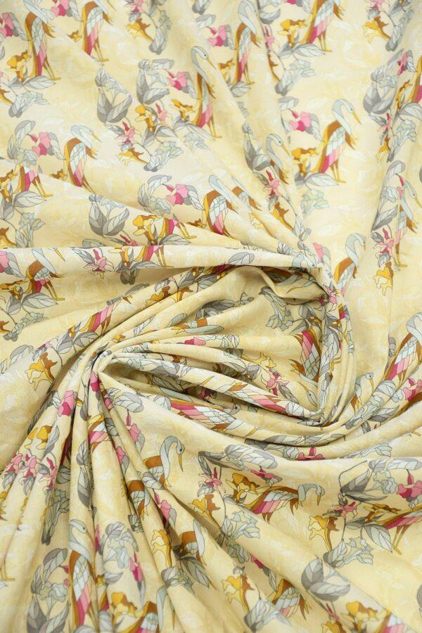 Хлопок бежевый с журавлями и цветами (10313) - Фото 8