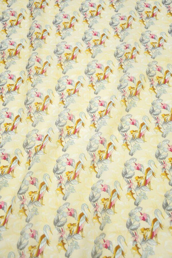 Хлопок бежевый с журавлями и цветами (10313) - Фото 11