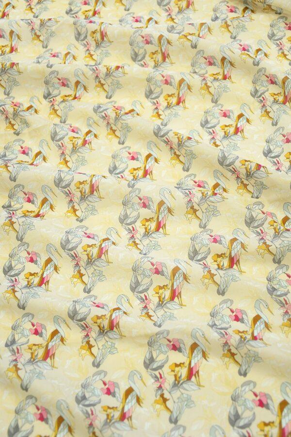 Хлопок бежевый с журавлями и цветами (10313) - Фото 6