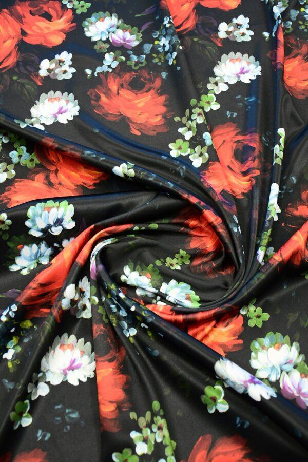 Сатин атласный черный с красными и белыми пионами (10315) - Фото 8