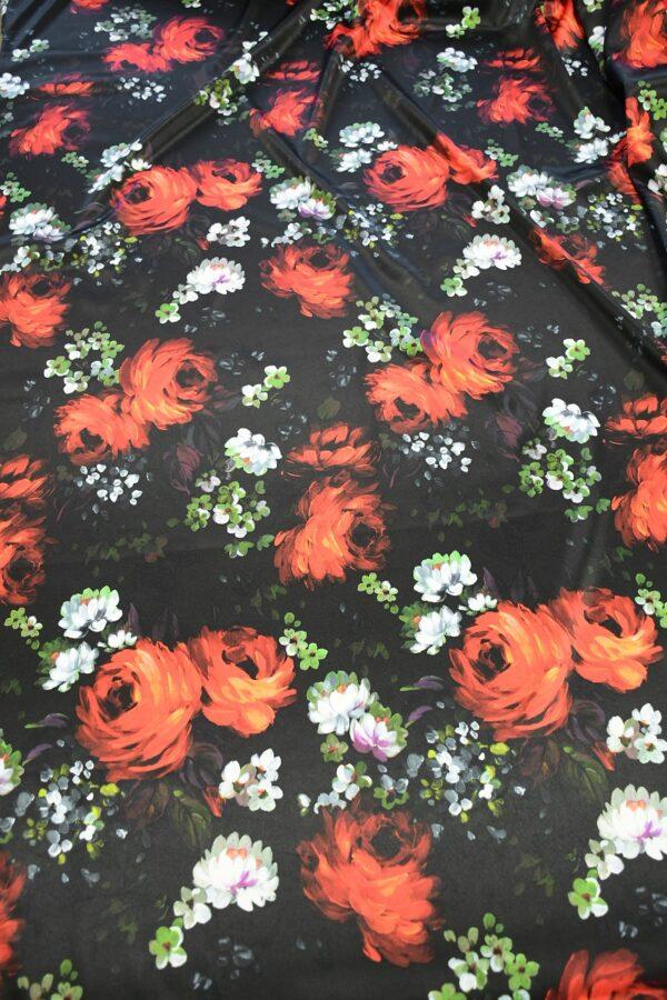 Сатин атласный черный с красными и белыми пионами (10315) - Фото 12