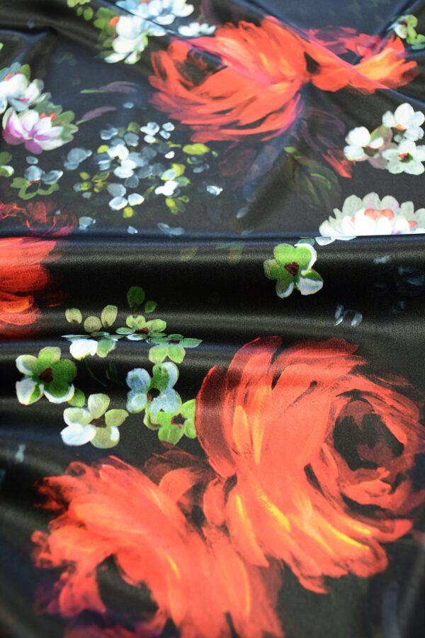 Сатин атласный черный с красными и белыми пионами (10315) - Фото 11
