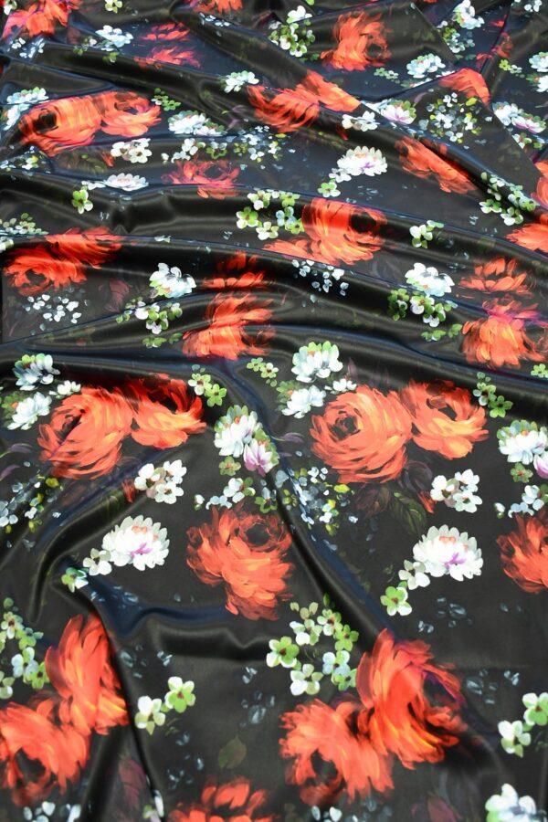 Сатин атласный черный с красными и белыми пионами (10315) - Фото 6