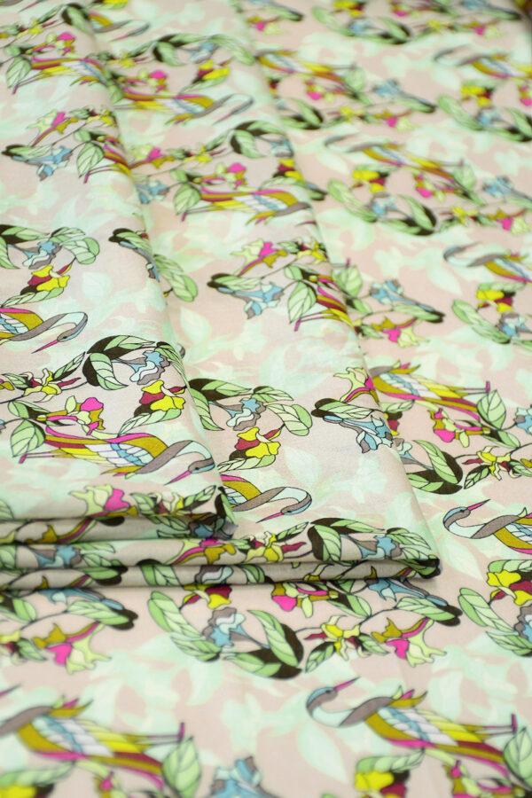 Хлопок розовый с журавлями и цветами (10316) - Фото 9